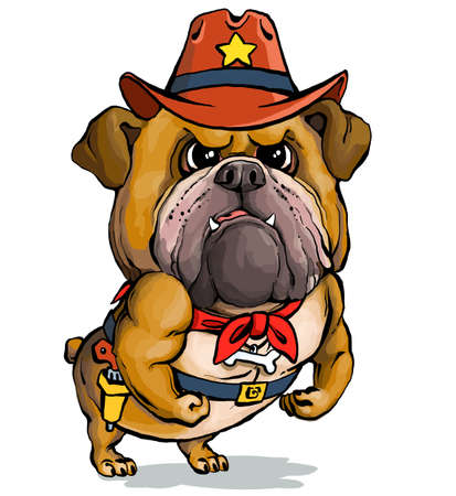 Vector illustration. Funny cartoon. A parody portrait of a stern English sheriff bulldog showing off his muscles.