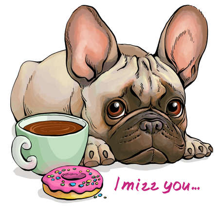 "Vector illustration. Funny cartoon. Portrait of a cute sad French Bulldog who does not want tasty treats. With the words ""I miss you"""