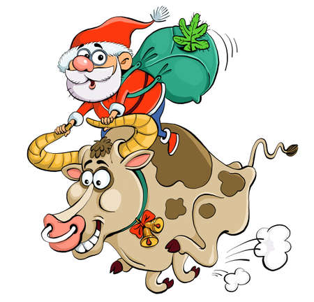Vector illustration. Funny cartoon. Santa Claus is riding a bull holding on to the horns. Symbol of the year. Eastern horoscope.
