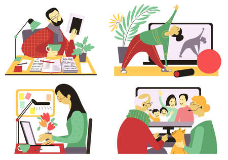 Vector flat illustration. Quarantined people in isolation. Men and women are engaged in work, creativity, gymnastics, communicate with relatives at a distance, staying at home. Vector Illustration