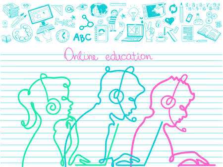 Vector. The concept of online education. E-learning. Silhouettes of teenagers studying school subjects surrounded by education icons.