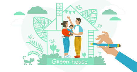 Abstract vector illustration. The family prefers to live in an environmentally friendly house made of quality building materials. Green home concept to save the environment and save the planet. Иллюстрация