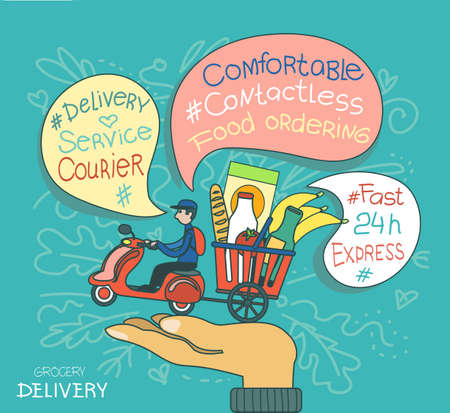 Vector illustration. Fast food delivery service. The concept of affordable and easy ordering of food.