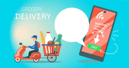 Vector illustration. Fast food delivery service. Application concept for online food ordering. With speech bubble for promotional text. Иллюстрация