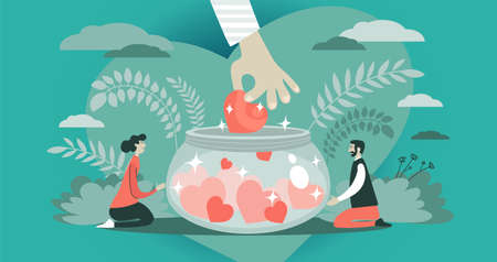 Abstract vector illustration. The symbolic hand extending a heart into a donation jar. The concept of social support, charity, volunteering and protection.