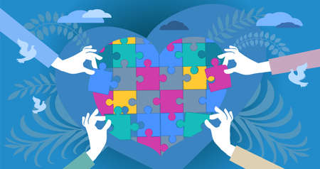 Abstract vector illustration. Human hands of caring people, stretching out puzzle pieces to join them into one big heart. The concept of social support, charity, volunteering.