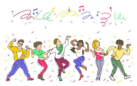 Vector illustration. A group of dancing young people surrounded by ribbons and confetti. Entertainment and celebration concept.