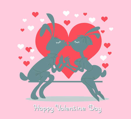Vector illustration with an inscription. Valentine Day design. Funny silhouettes of two kissing rabbits surrounded by hearts.