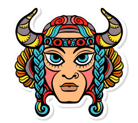 Vector illustration of trendy tattoos, stickers. Face of a man, shaman with braided hair and buffalo horns in vintage style