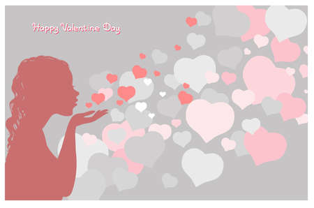 Vector illustration with an inscription. Happy Valentine Day. Attractive girl sends an air kiss surrounded by hearts.