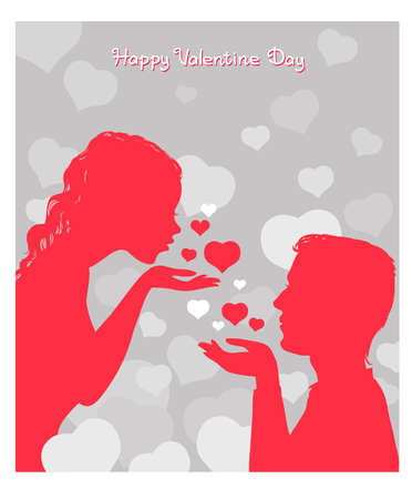 Vector illustration with an inscription. Happy Valentine Day. A loving couple surrounded by hearts. Иллюстрация