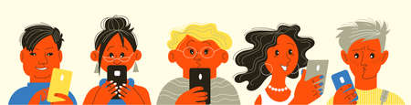 Vector illustration. People look at their cell phones and chat on social media.