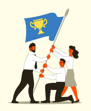 Vector illustration of people raising the flag. The concept of business growth, teamwork, goal achievement, success and height. Иллюстрация