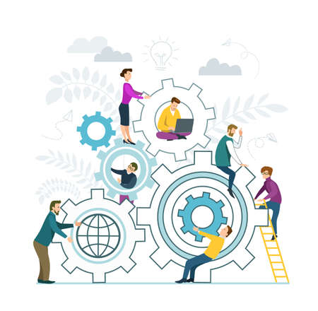 Vector illustration in flat design style. Teamwork. People put together puzzle pieces. Business team, business cooperation and partnership concept. Иллюстрация