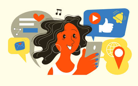 Vector illustration. Girl holding mobile phone with application icons. Social media addiction. Illustration