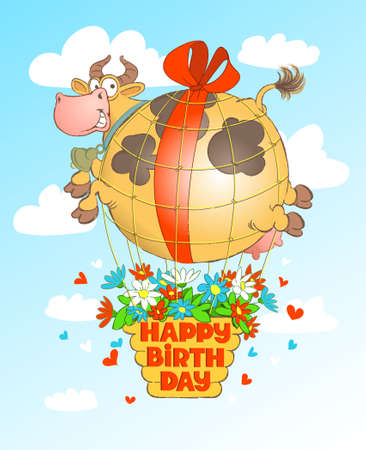 Vector humorous birthday illustration. Cute cow in the form of a balloon flies with a basket of flowers