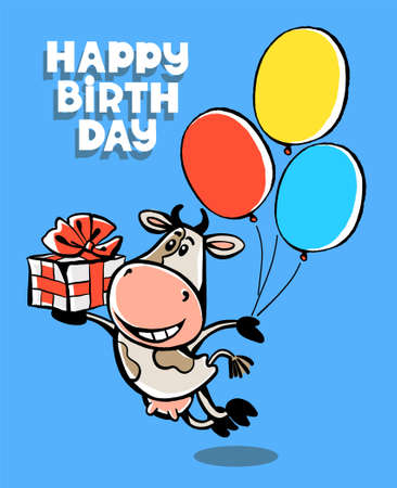 Colorful vector illustration. Happy Birthday. Cute funny happy cow flies on balloons with a gift. Congratulations lettering. Isolated object.