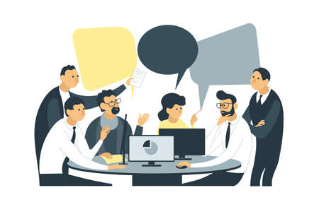 Vector flat illustration. Employees are sitting at the negotiating table. Joint discussion of new projects, collective thinking, information analytics of the company.