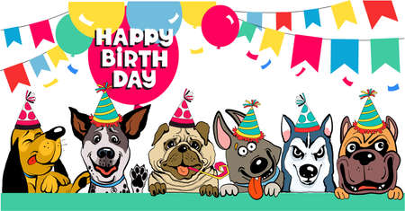 Friends colorful vector illustration. Funny funny dogs congratulate happy birthday surrounded by balloons and flags Иллюстрация