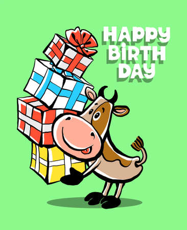 Colorful vector illustration. Happy Birthday. Cute funny happy cow is holding many boxes with gifts. Congratulations lettering. Isolated object.
