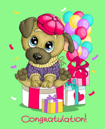 Vector humorous birthday illustration. A cute funny happy dog sits in a hat with gifts and balloons. Congratulations lettering Illustration