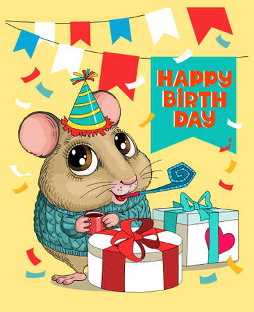 Vector humorous birthday illustration. A cute funny mouse is sitting in a hat and a whistle with big gifts. Around the flags and tinsel. Illustration