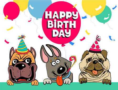 Friends colorful vector illustration. Funny funny dogs congratulate happy birthday surrounded by balloons