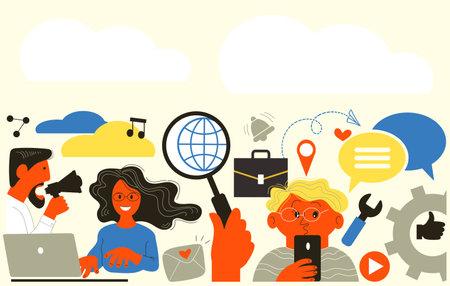 Vector flat illustration. Internet communication, find friends on social networks, chat, website, messages, videos, news, messages. Illustration