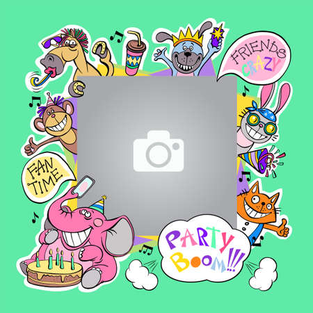 Funny colorful photo frame for baby photography. Party with friends, birthday, fun holiday. Vector illustration with isolated objects.