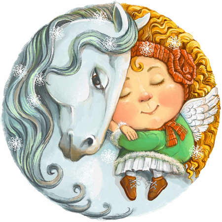 Colorful illustration of a round shape. A cute little ginger angel is sleeping peacefully on the back of a white horse. The concept of winter, sweet dreams, tranquility and relaxation. Stock Photo
