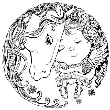 Vector black and white illustration of a round shape. The little angel sleeps peacefully on the back of a horse with a long mane.