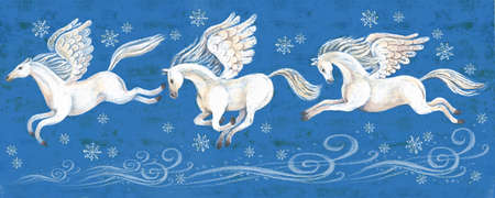 A vivid illustration of beautiful white horses flying on their wings across the night winter sky. Surrounded by blizzards and snowflakes on a blue background. Flying Pegasus, romance, inspiration, muse