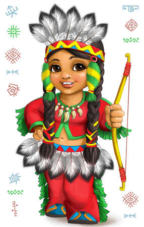 Bright cartoon of a cute Native American girl in the national costume of the culture of North America Фото со стока