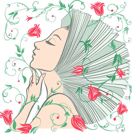 Vector illustration of philosophy, symbol of life, female psychology. A woman is like an open book. The concept of mental health, psychoanalysis and psychotherapy.
