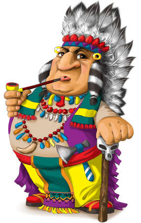 Illustration of a funny Indian tribal leader in a bright colorful national costume of North America Фото со стока