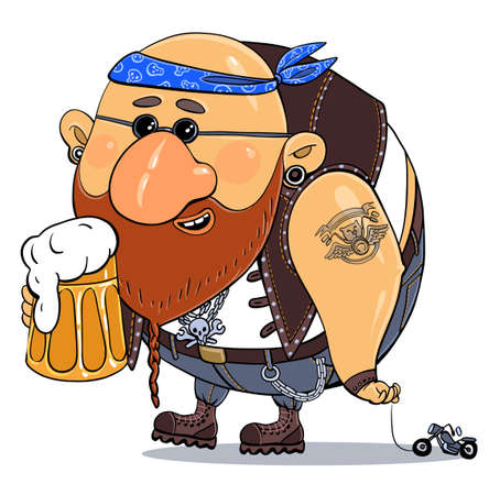Vector cartoon. Bright print illustration-parody. A cheerful funny biker on vacation with a glass of beer is driving his motorbike on a string. Isolated object. Иллюстрация