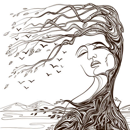 Vector illustration of philosophy, symbol of life, female psychology. Woman in the form of an autumn tree. The concept of mental health, psychoanalysis and psychotherapy. Иллюстрация