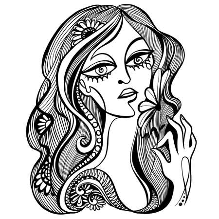 Vector black and white illustration. Graphic abstract portrait of a woman with a flower in her hand.