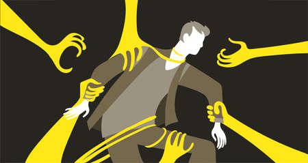 Vector illustration. Psychology of Personality. The man is captured by giant arms, tentacles. The concept of the development of a person's mental activity, his fears, dependence, manipulation, pressure from outside.