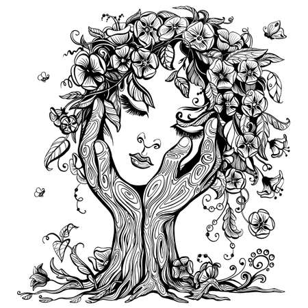 Vector illustration of philosophy, symbol of life, female psychology. A woman's face in the form of a blossoming tree in an embrace of hands. The concept of mental health, psychoanalysis and psychotherapy.