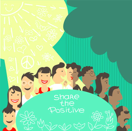 Vector illustration. A group of people in a chain shares positive things with each other. Smiles and good mood will make the world in positive vibe. Human psychology concept Иллюстрация