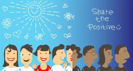 Vector illustration. A group of people in a chain shares positive things with each other. Smiles and good mood will make the world  in positive vibe. Human psychology concept