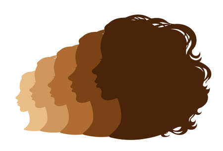 Vector. Silhouettes of a female profile. Avatar, icons, design.