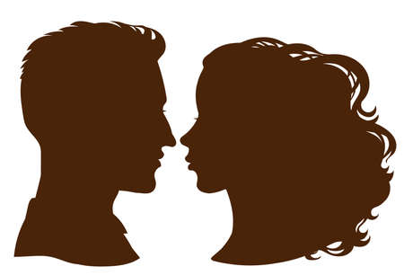 Vector. Silhouettes of a female and a male profile. Avatar, icons, design.