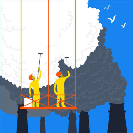 Vector illustration in a flat style. The concept of ecology as a norm of life. People clean up harmful emissions from the pipes of chemical plants. Иллюстрация