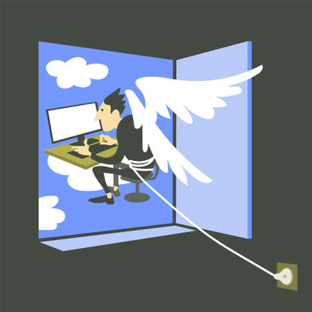 Vector illustration of philosophy. A metaphor for the online social media addict lifestyle. A man with wings behind his back sits at a computer monitor, cannot get into the outside world. The concept of mental health, psychoanalysis and psychotherapy.