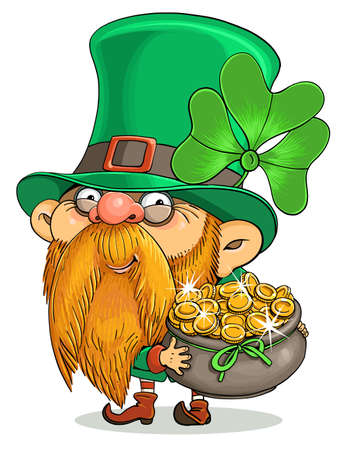 Vector cartoon. Postcard for St. Patrick's Day. Cute Irish Leprechaun and a pot of gold coins.