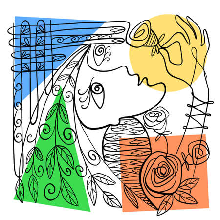 Vector illustration. Graphic abstract portrait of a woman with a flower in her hand. Drawn with calligraphic line. Illustration