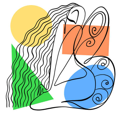 Vector illustration. Graphic abstract portrait of a woman with butterfly wings. Drawn by calligraphic line.