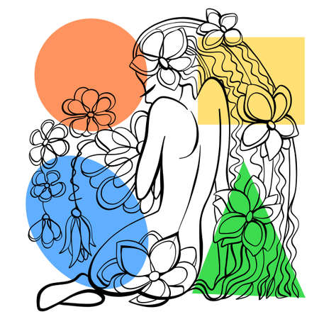 Vector illustration. Graphic abstract portrait of a seated woman with flowers. Drawn with calligraphic line. Illustration